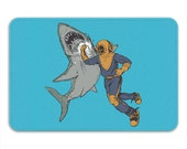 Shark Punch Memory Foam Bath Mat, Funny Bathroom Rug - Printed in USA
