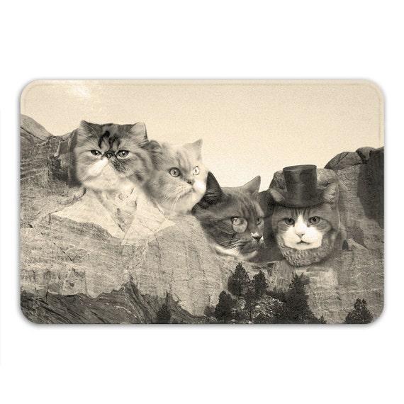 Meowmore Memory Foam Bath Mat Funny Cat Bathroom Rug