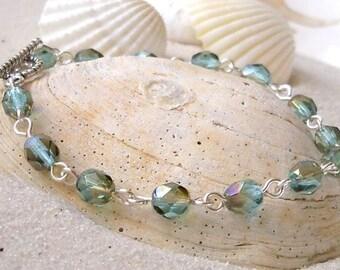 Women's Beaded Bracelet - Light Weight Beaded Bracelet - Glass Beaded Bracelet - Czech Glass Bracelet - Aqua Glass Beaded Bracelet