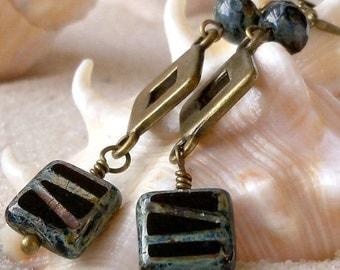 Beaded Earrings - Black Earrings - Dangle Earrings - Black Dangle Earrings -  Antique Brass Earrings - Long Earrings - Black Drop Earrings