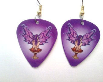 Purple Fairy  guitar pick earrings