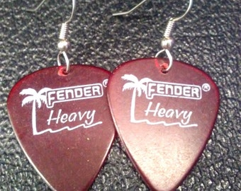 Red Palm Tree Fender Heavys guitar pick earrings