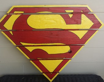 Superman, Man of Steel Sign made from recycled pallets/reclaimed wood