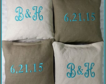 Cornhole Bags Wedding Personalized Set of 8 Cream and Tan with Turquoise Stitching