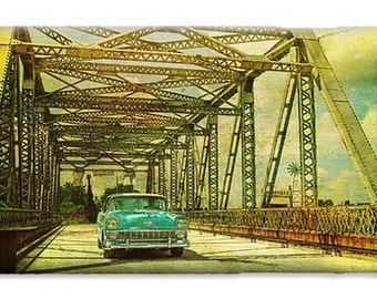 Chevy Belair entering Bridge, iPhone and Galaxy case, Classic Car