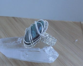 Quantum Quattro Tumbled Stone Wire Wrapped Silver Wire Ring Size 8 Wire Wrapped Jewelry Handmade Free shipping USA Quantum Quatro