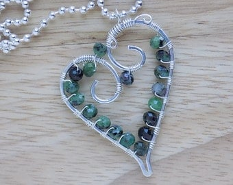 Sterling Silver Wire Wrapped Ruby Zoisite Pendant Wire Heart Green Gemstone Wire Wrapped Jewelry Handmade Free USA Shipping