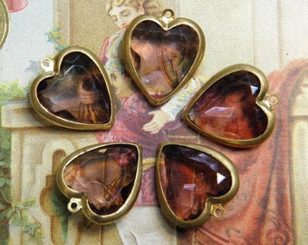Vintage Glass Channel Set Hearts Supply Charms