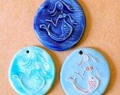 3 Handmade Ceramic Beads - Mermaid Pendants in Rustic Sky Blue, Aqua and Blue - Ocean Themed Handmade Pendants - Mermaid Charm