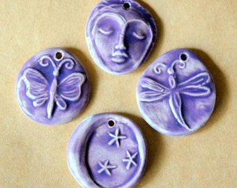 4 Handmade Ceramic Beads in Purple Lavender - Face, Dragonfly, Moon and Butterfly