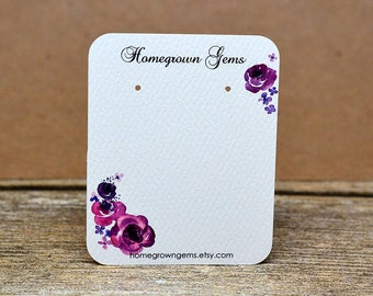 Custom Earring Display Cards - Purple Watercolor Flowers Floral Design - Necklace Cards Hair Accessory Display Packaging