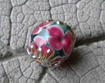 PINK on TURQUOISE Encased Floral Focal Lampwork Beads by Cherie Sra R114 Encased Floral Flameworked Bead