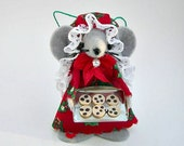 Christmas Ornament Chocolate Cookie Baker Felt Mouse  Tree Ornament Red Green