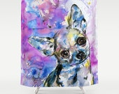 Chihuahua Shower Curtain -Dog Watercolor Painting from Original abstract pet art by Kathy Morton Stanion  EBSQ