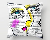 """Cartoon Pillow, Goddess painting Watercolor Art, """"Goddess Doodle No. 3"""" Original sexy watercolor art painting by Kathy Morton Stanion  EBSQ"""
