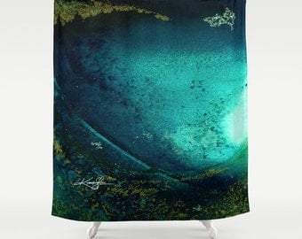 "Teal Green Abstract Shower Curtain, Original abstract Spiritual watercolor art painting ""Into The Mystic No. 13""  Kathy Morton Stanion  EBSQ"