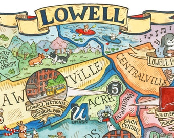 "Lowell Massachusetts Neighborhood Map 8""x10"" Art Print"