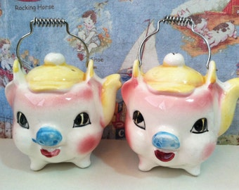 VERY RARE Vintage Pink Piglets Wearing Baseball Hats Salt & Pepper Shakers Collectibles or Cake Toppers