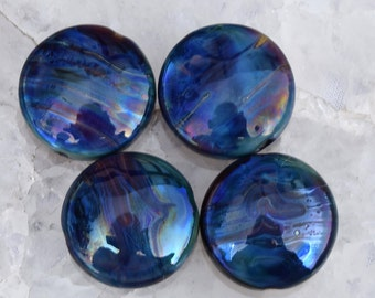 4  Metallic Blue Silver Glass Spree Lentils , glass beads by Beadfairy Lampwork, SRA