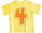 Superstar Fourth Birthday Short Sleeve Green Orange Kids T Shirt