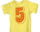 Superstar Fifth Birthday Short Sleeve Yellow Kids T-Shirt