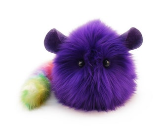 Stuffed Chinchilla Stuffed Animal Cute Plush Toy Chinchilla Kawaii Plushie Purple Chinchilla Cuddly Faux Fur Large 6x10 Inches