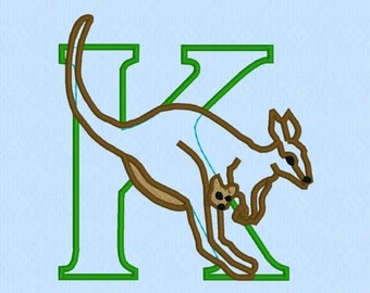 Letter K is for Kangaroo Applique machine embroidery design file