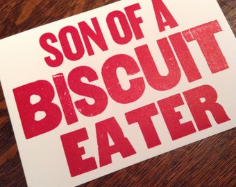 BISCUIT EATER 6 hand printed letterpress mini prints post cards