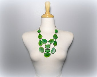 Green Tagua Nut Bib Statement Eco Friendly Necklace with Free USA Shipping #taguanut #ecofriendlyjewelry