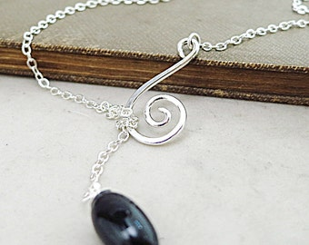 Onyx lariat necklace, Sterling Silver, Spiral,  black gemstone jewelry