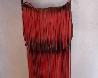Fringed Red Distressed Leather Purse HOBO BAG Hippie Genuine Leather HandbagDesigner Handbag Lots of Fringe Handmade by Debbie Leather