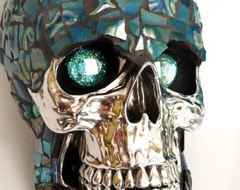 Mosaic Art- Blue Eyes Skull- Chrome Face-One of a kind-Sugar Skull-Home Decor