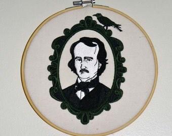 Edgar Allan Poe Embroidery Hoop Wall Art