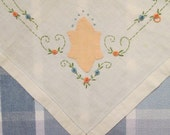 Vintage Tablecloth and Napkins - Embroidered/ Appliqued Linen