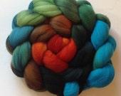 Hand Dyed gradient roving for spinning or felting 3.5 Verdigris  Pre order