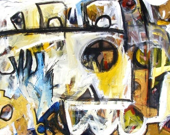 Pursuit 72 x 28 inch urban expressionism oil on canvas
