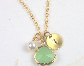 August Birthstone Peridot Personalized Gold Necklace, Peridot Necklace, August Birthday Jewelry, Personalized Gold Necklace #877