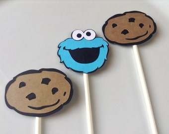 Cookie Monster Toppers; Sesame Street Toppers (Set of 12)
