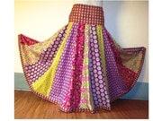 Vibrant Colors Aline Panel Patchwork Maxi Skirt Hippie Boho Long