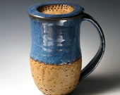 Denim Blue Coffee Mug with Lid, Handcarved Pottery Mug with Cover - Can be Personalized - MADE TO ORDER