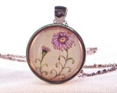 September Birthday Flower of the Month - Aster - Necklace - Birthday Gift - Nature Pendant - Botanical Necklace - Gift for Mom - Floral