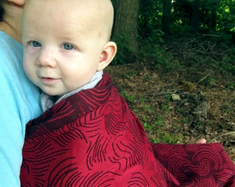 Little Frog Wrap Conversion Ring Sling - Echo jacquard Cranberry - DVD included