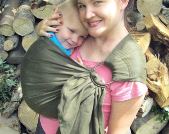 Linen Ring Sling Baby Carrier - 100% Linen in Olive - DVD included - choose decorative or straight stitching, toddler sling, summer