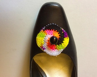 Crocheted Bright Pastel, Black and White Swirl Shoe Clips with Bead