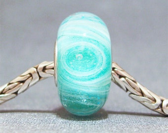 Glow in the Dark Green & White Handmade Lampwork Glass Bead Caribbean Cyclone