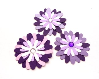 Set of 3 Paper Purple Flowers, Hand Punched Flowers, Scrapbook Embellishments, Purple Daisies for Card Making
