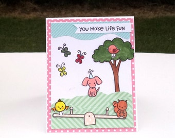 Children's Birthday Card, Animal Card, Spring Scene, Kids' Birthday, Card for Boys, Girls
