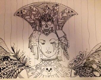 adult coloring book page  goddess diy skulls craft halloween queen relaxation zentangle