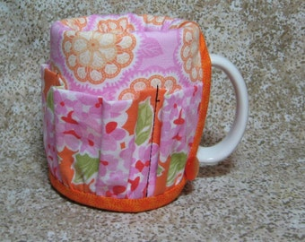 Coffee Caddy Desk Sewing Organizer Cozy For Mug or Goblet Floral Flowers Orange Pink Burch Crap Caddy