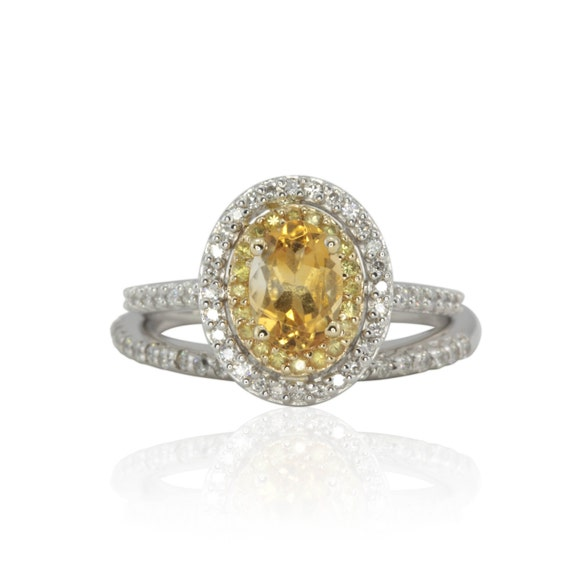 engagement ring citrine yellow sapphire and by